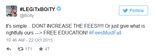 dont increase fees boity