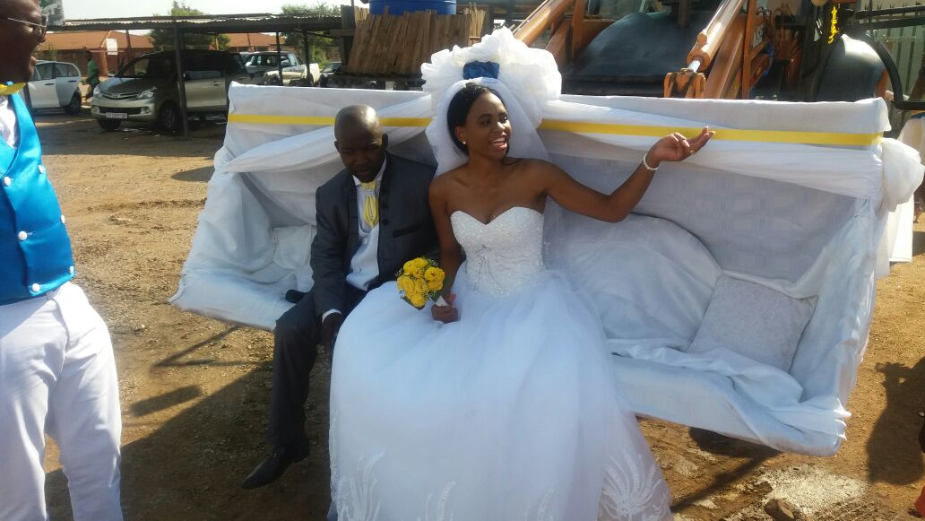 South Africa Wedding with caterpillars and tractors