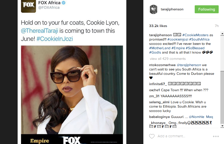 Empire Actress Taraji Henson Is Coming To Mzansi