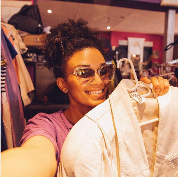 Pearl Thusi Goes Shopping At A Second-hand Clothing Store