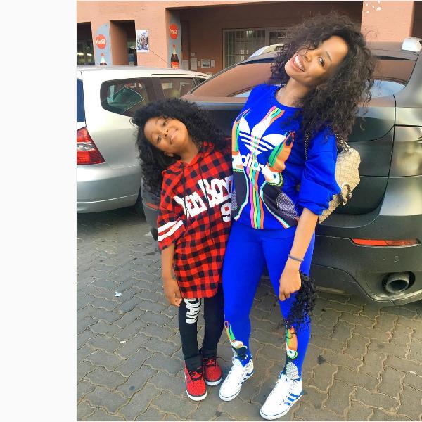 Watch Khanyi Mbau And Her Daughter Rocking To Riky Rick's Sidlukotini