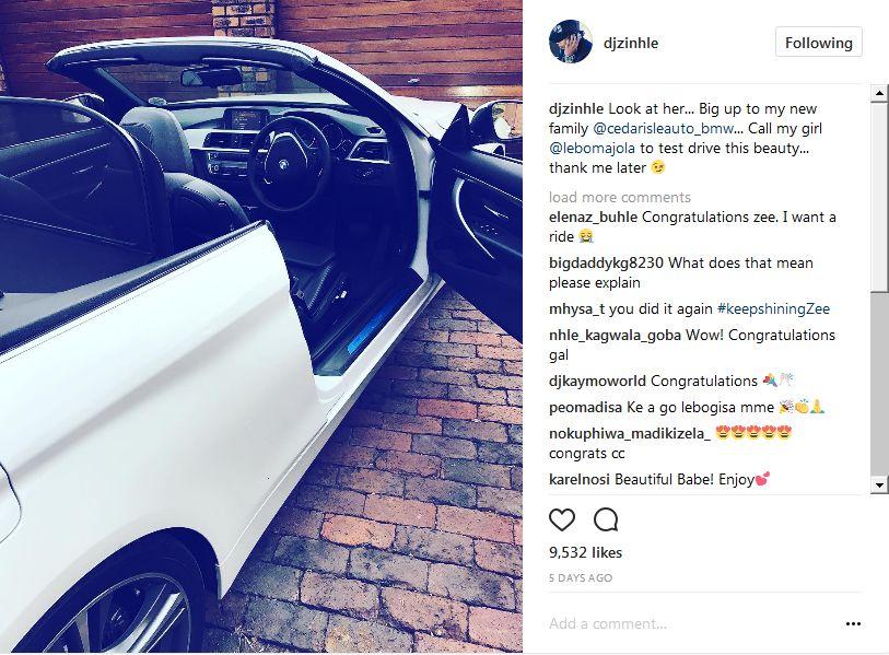 Pics Did Dj Zinhle Buy Herself A New Car Okmzansi