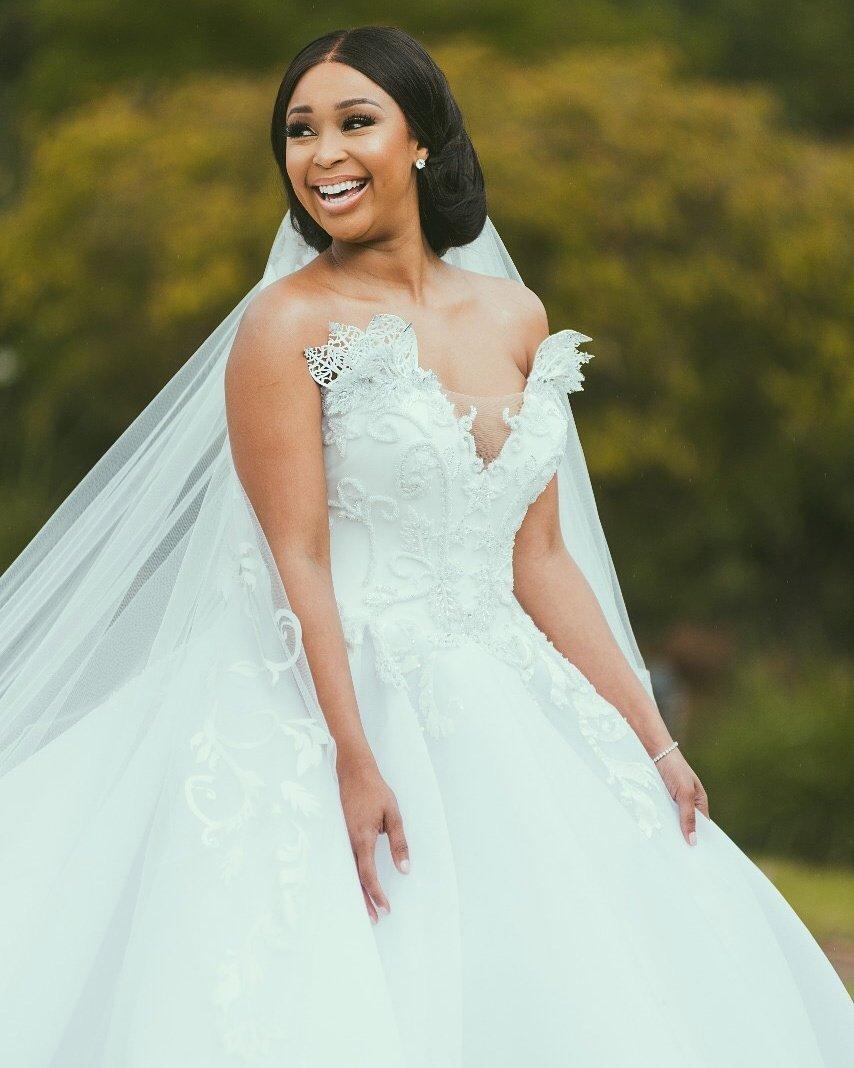 Pics Minnie Dlamini Jones Magical White Wedding Okmzansi