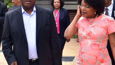 Black Twitter Reacts To Baleka Mbete's Double Kiss On Cyril Ramaphosa