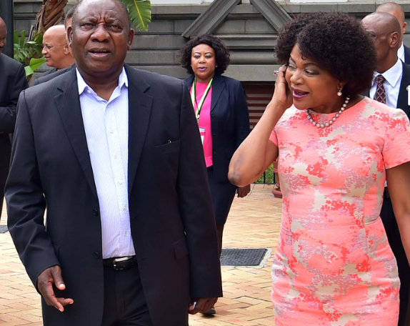 Black Twitter Reacts To Baleka Mbete's Double Kiss On Cyril Ramaphosa