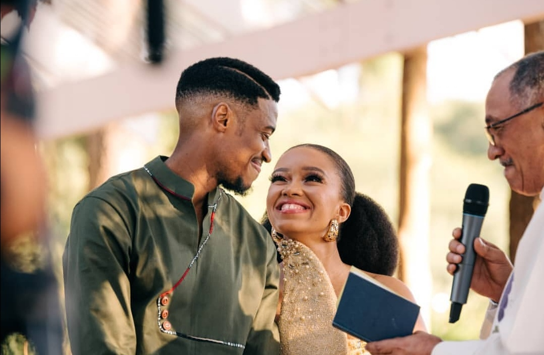 Watch! Dineo And Solo's Beautiful Wedding Vow Exchange!